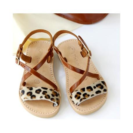 sandales grecqques léopard
