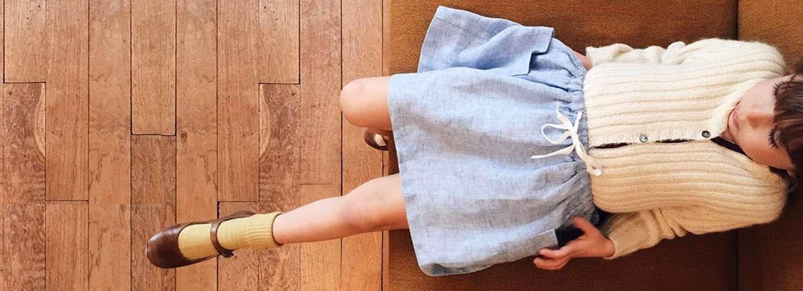 Emi, skirt in blue chambray linen